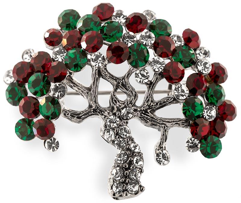 Brosche Baum silberfarben mit grünen und roten Strass Steinen BR007 oben