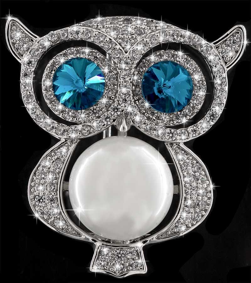 Brosche Eule silberfarben mit einer Perle als Körper, blauen und vielen weissen Strass Steinen BR042 oben
