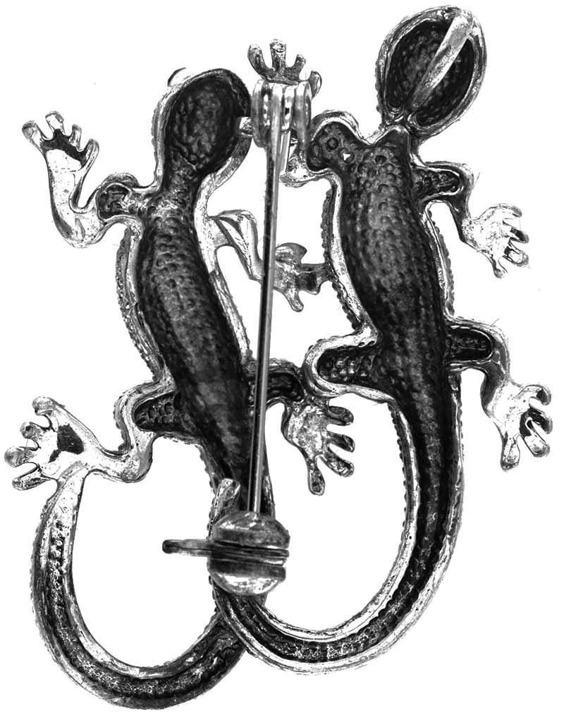 Brosche Gecko silberfarben mit weissen und schwarzen Strass Steinen BR009 unten