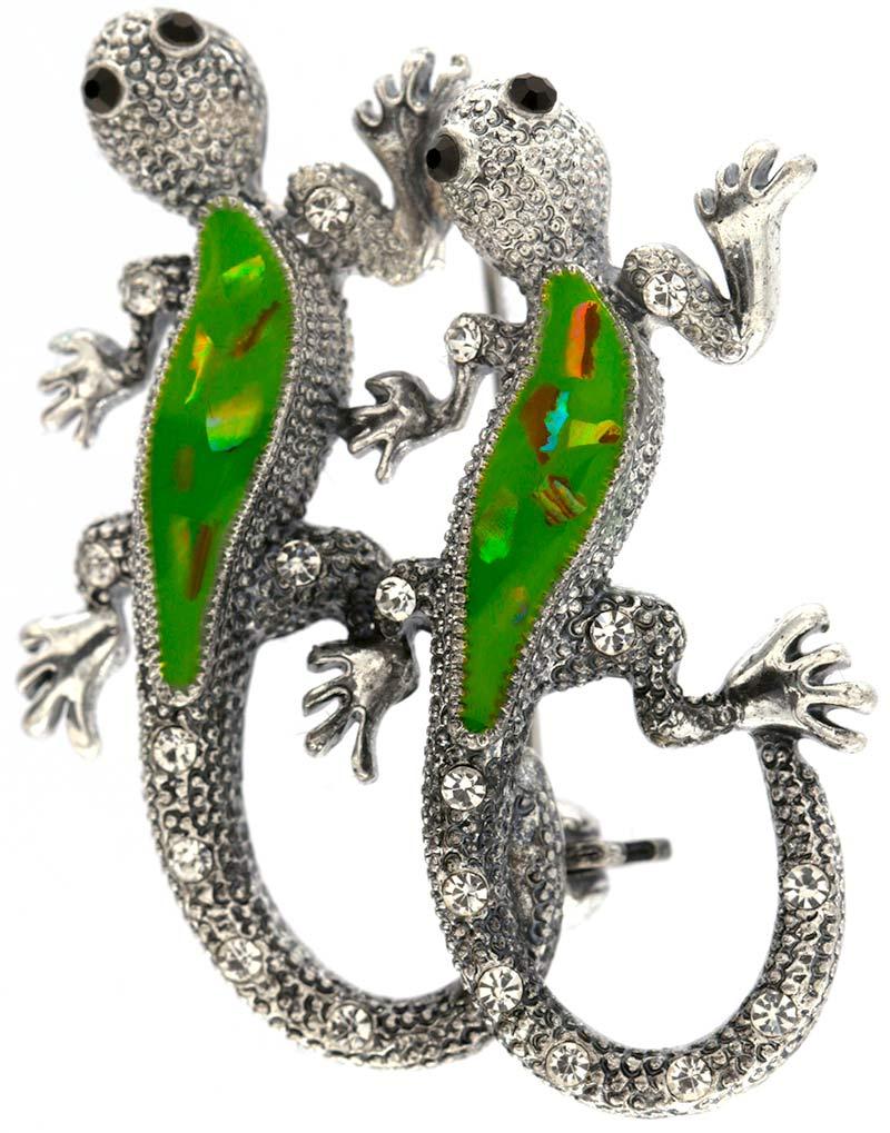 Brosche Gecko silberfarben mit weissen und schwarzen Strass Steinen BR009 oben