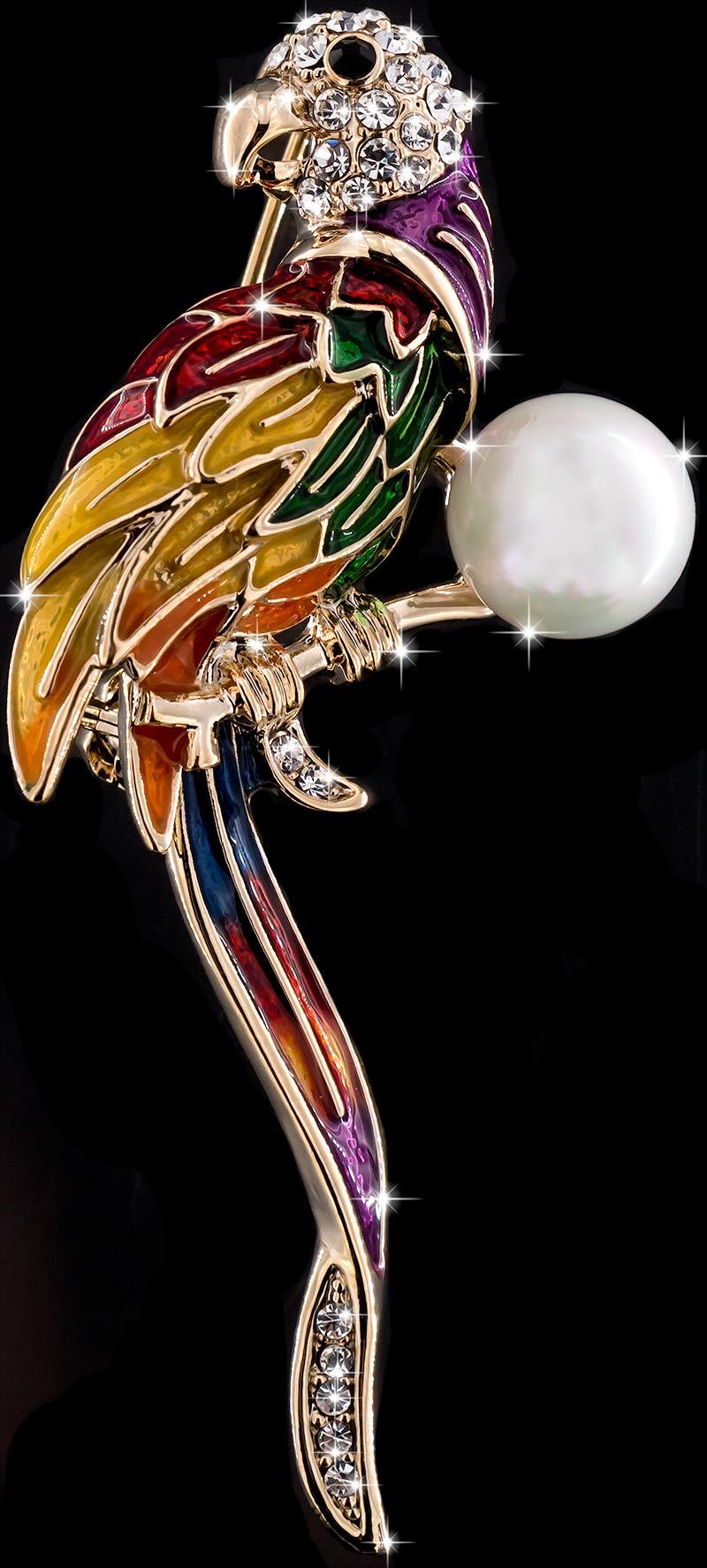 Brosche Papagei goldfarben mit bunten Federn, einer Perle und vielen weissen Strass Steinen BR048 oben