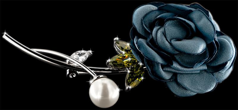 Brosche Rose silberfarben mit einer Perle, gelben und weissen Strass Steinen BR053 seite