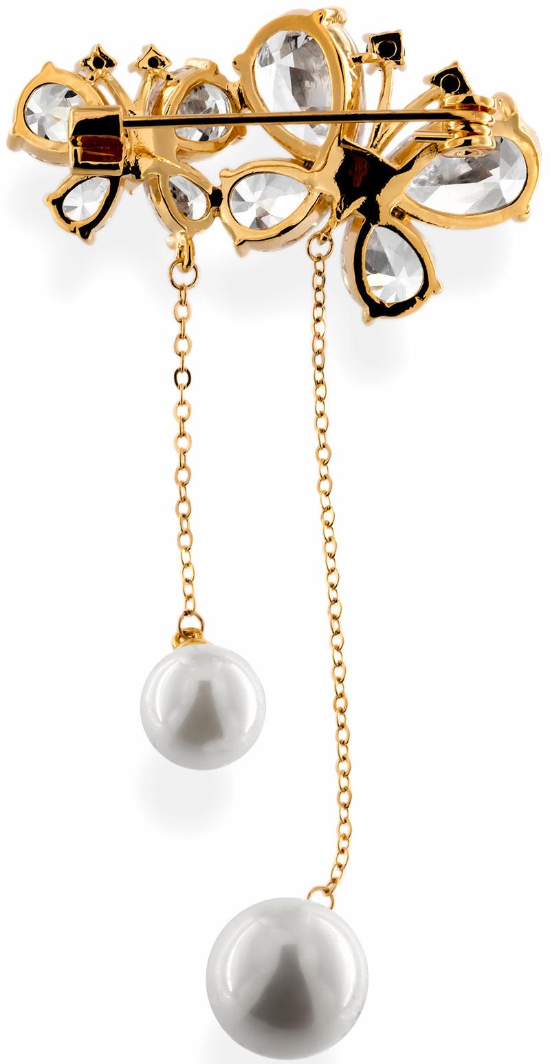 Brosche zweier Schmetterlinge goldfarben mit zwei Perlen, schwarzen und vielen weissen Strass Steinen BR013 unten