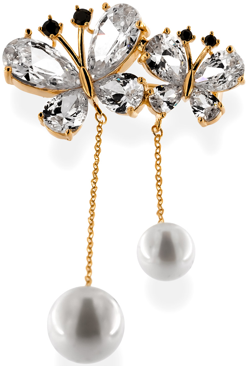 Brosche zweier Schmetterlinge goldfarben mit zwei Perlen, schwarzen und vielen weissen Strass Steinen BR013 oben