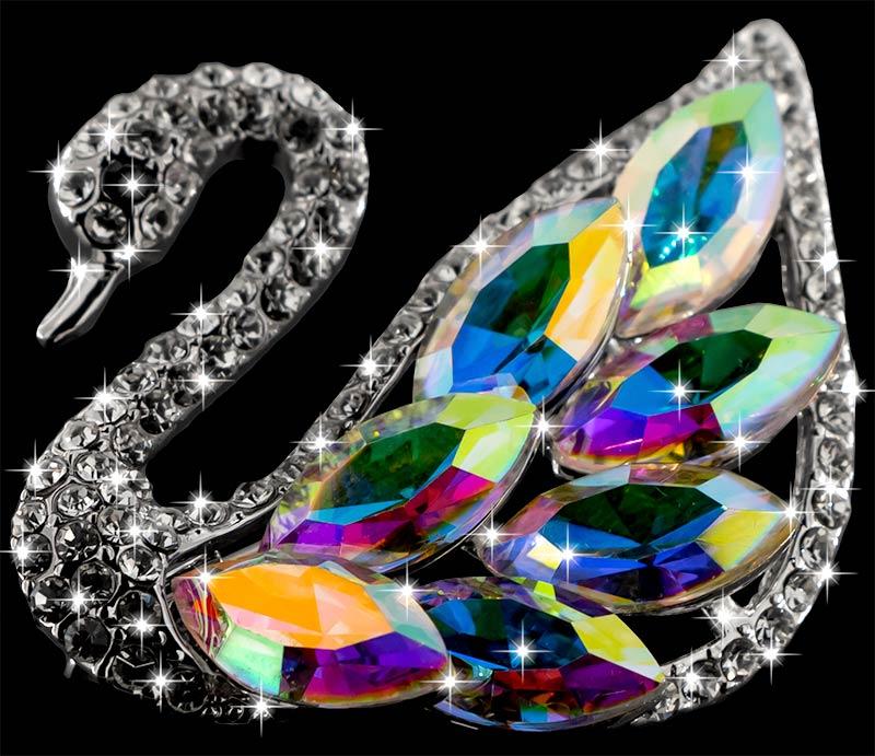 Brosche Schwan silberfarben mit bunten Kristallen als Federn und vielen weissen Strass Steinen BR055 oben 3