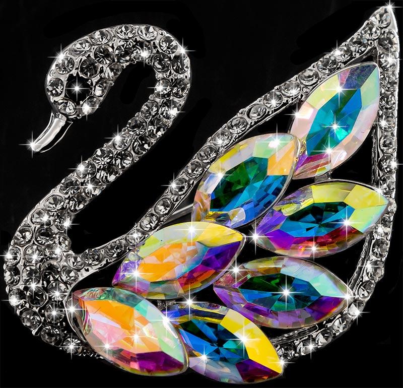 Brosche Schwan silberfarben mit bunten Kristallen als Federn und vielen weissen Strass Steinen BR055 oben