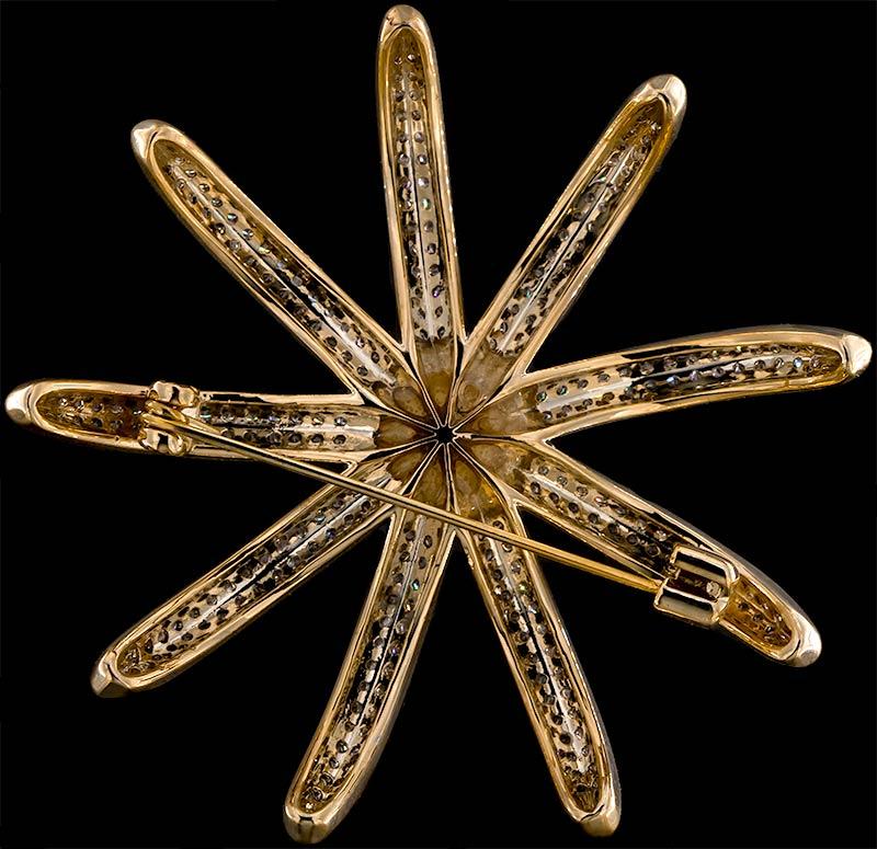 Brosche Seestern goldfarben mit einer Perle und vielen weissen Strass Steinen BR047 unten