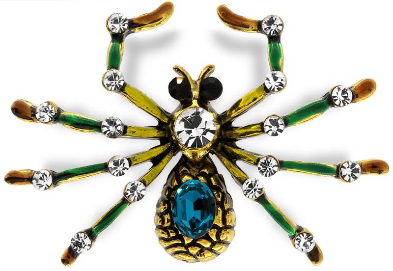 Brosche Spinne goldfarben mit blauem, schwarzen und weissen Strass Steinen BR010 oben