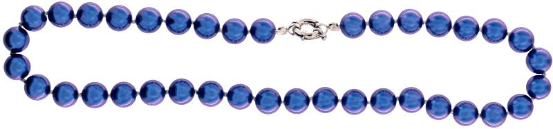 Perlmutt Blau Kette 46cm, ca. 10mm Perlengröße Collier Halskette Mother-of-Pearl MOP04