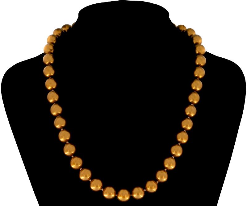 Perlmutt Gold Kette 46cm, ca. 10mm Perlengröße Collier Halskette Mother-of-Pearl MOP03