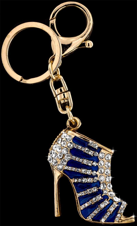 Anhänger High Heel goldfarben mit vielen weissen Strass Steinen Schlüsselanhänger Taschenanhänger AH05