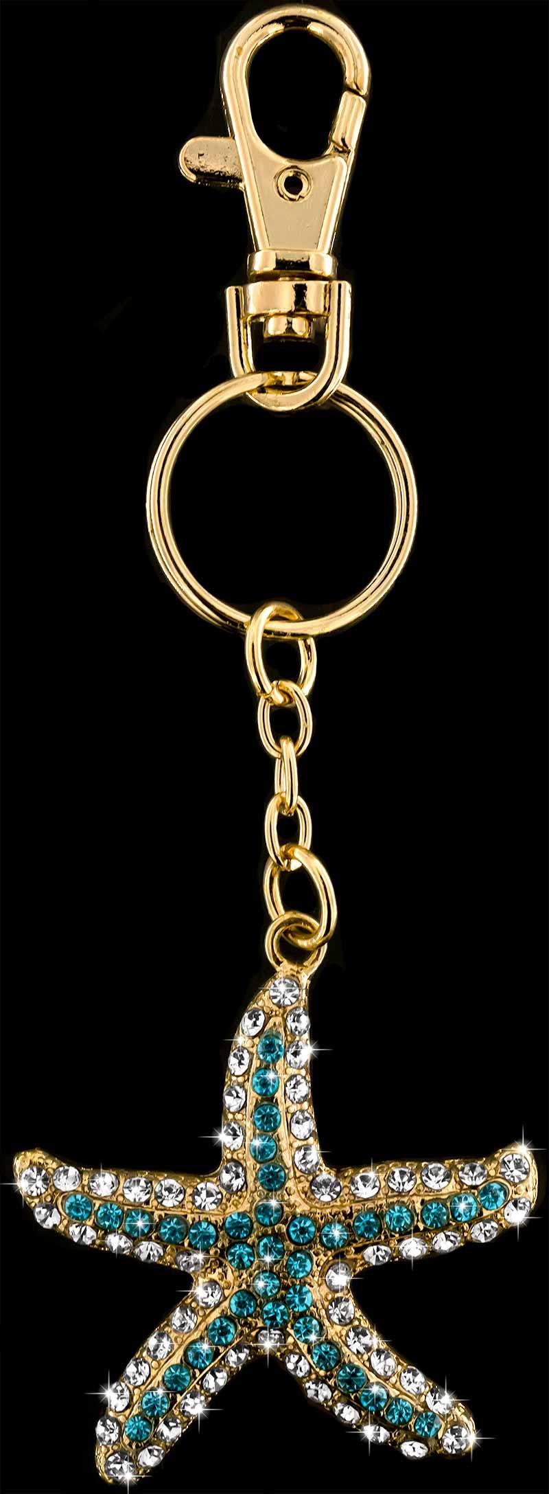 Anhänger Seestern goldfarben mit vielen weissen und türkisen Strass Steinen Schlüsselanhänger Taschenanhänger AH07