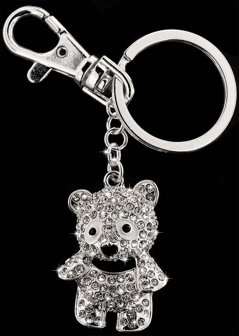 Anhänger Teddybär silberfarben mit vielen weissen Strass Steinen Schlüsselanhänger Taschenanhänger AH12