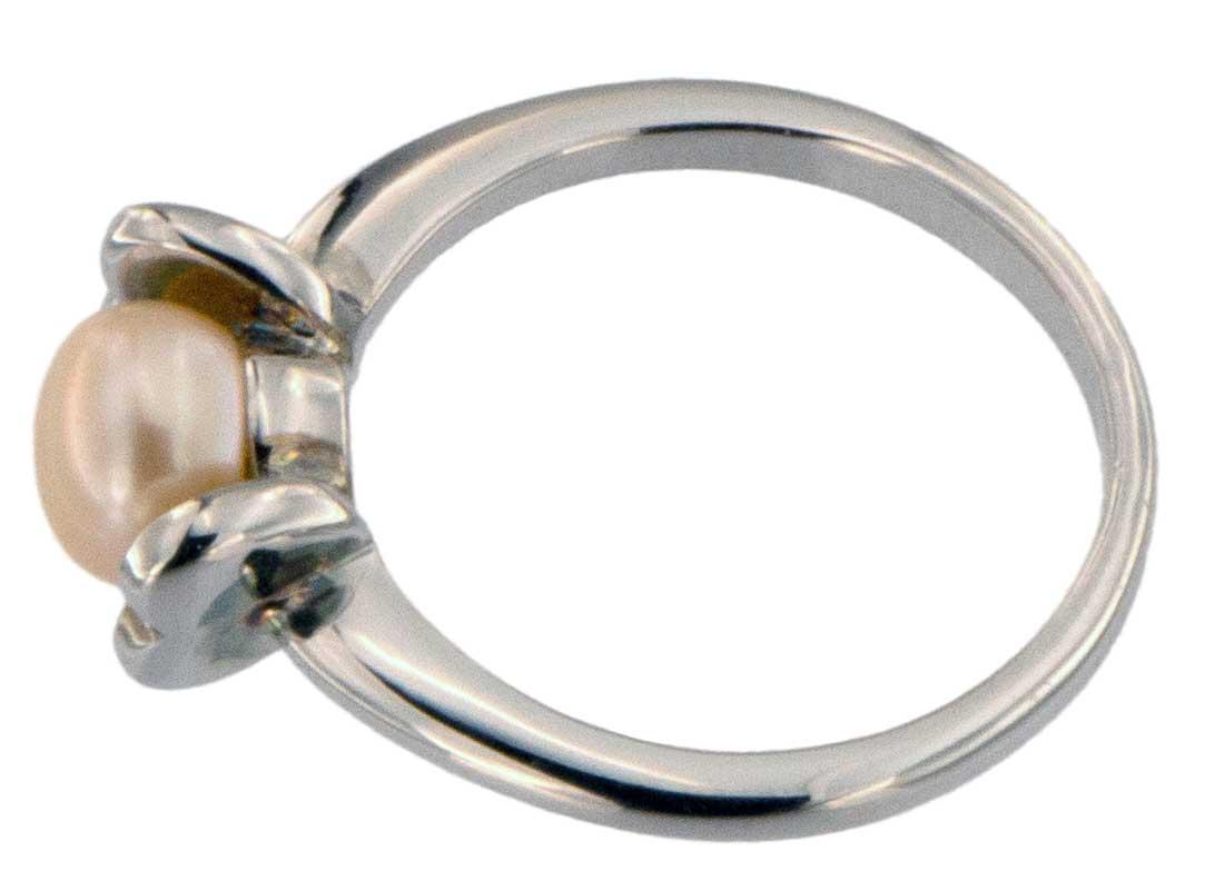 Perlenring Echte Zuchtperlen P224 Orange 1 Perle Oben