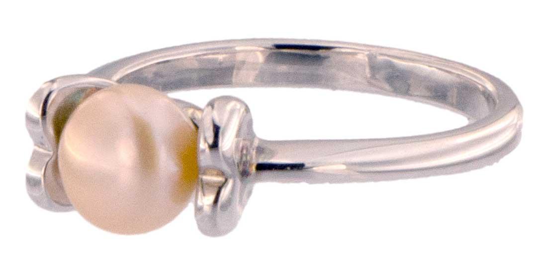 Perlenring Echte Zuchtperlen P224 Orange 1 Perle Seite vorne Links