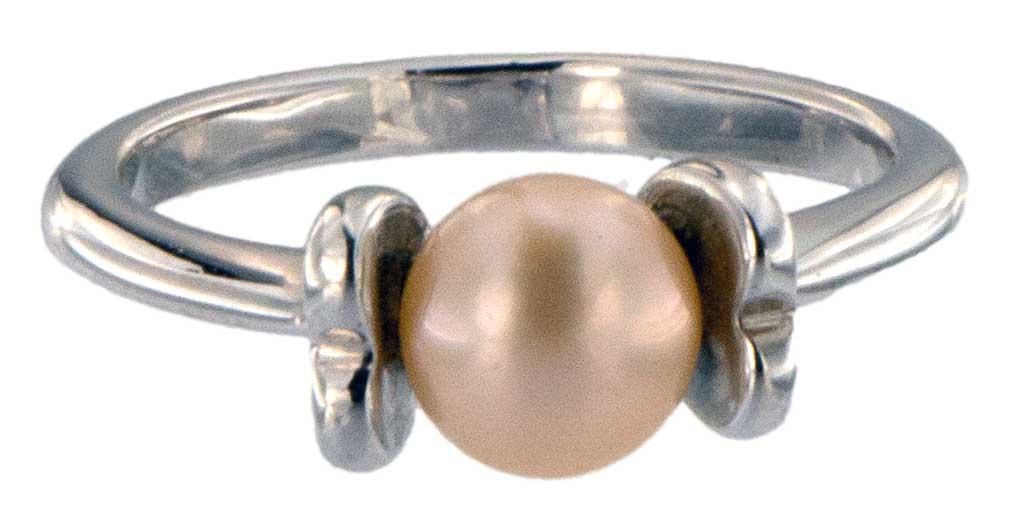 Perlenring Echte Zuchtperlen P224 Orange 1 Perle Seite Front vorne